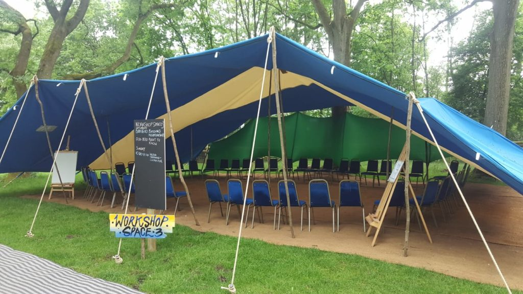 Berber tent marquee blue and white